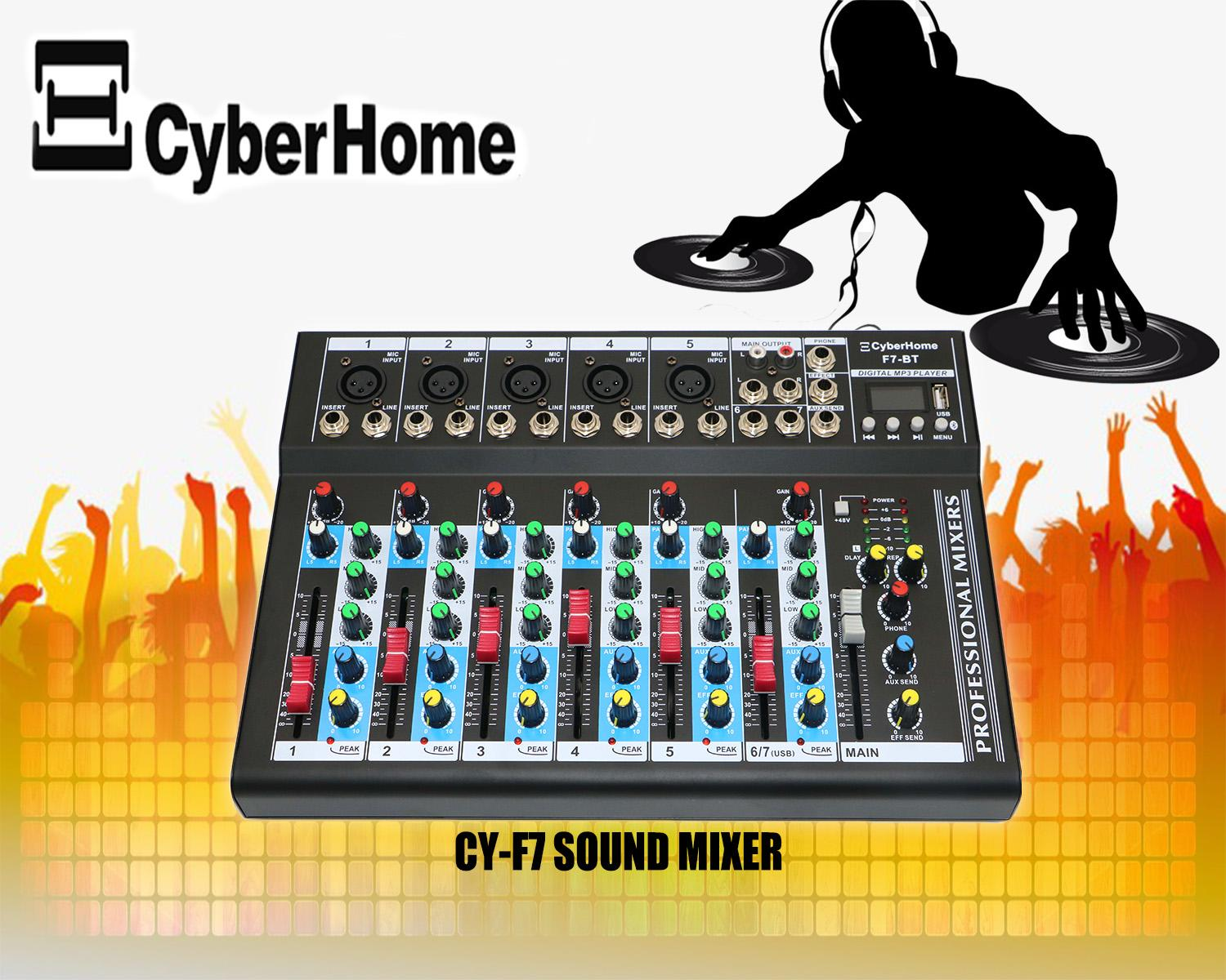 CyberHome F7USB Professional Audio Mixers with Bluetooth
