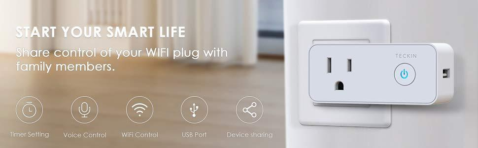 Teckin Smart Plug,Wifi Socket Outlet With USB Port Compatible with Alexa,  Echo, Google Home & IFTTT, Timer Function, No Hub Required, Control  Electric
