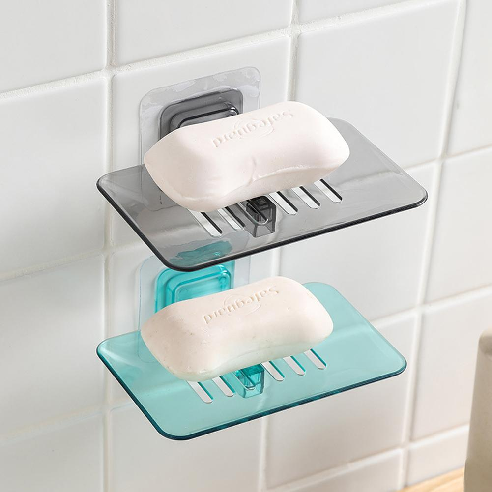 Storage Box Suction Cup Soap Toothbrush Sponge Holder Bathroom Shower Kitchen