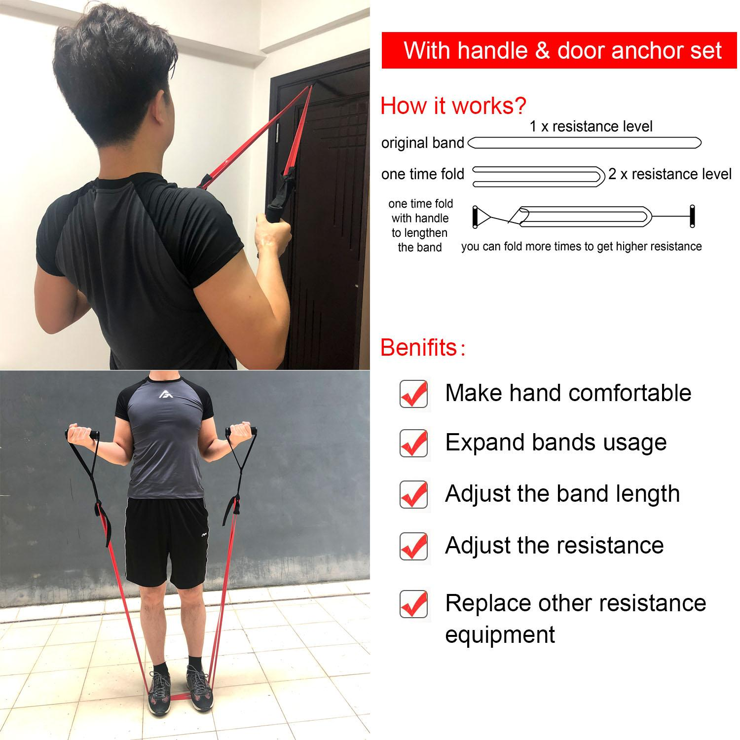 AdoreFit Resistance Exercise Loop Band,Optional Door Anchor & Handle-100%  Nature Latex Assist Power Bands for Pull Up,Fitness,Home Gym,CrossFit,Power