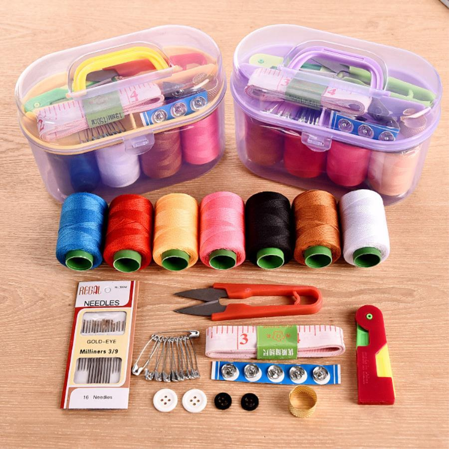 Needles Pink Tape Measure and Accessories Thread Thimble Round Home Sewing Storage Box Portable Sewing Storage Box Outdoor Travel Sewing Box Sewing Tools Kit Mini Sewing Kit with Scissors