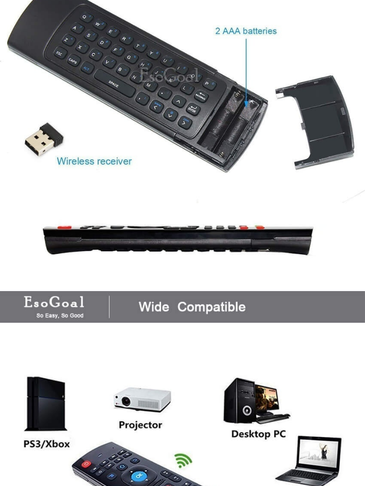 EsoGoal Mini TV Remote Controller Wireless Keyboard Mouse Portable Infrared  Control Air Mice for TV, Android, Windows, Lilux, PS3 etc - intl