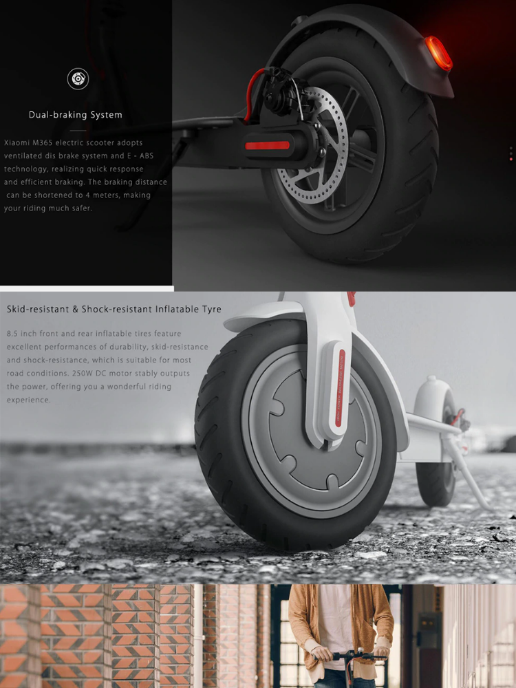 LUCKY HR XIAOMI Mijia M365 Outdoor Double Braking System Kinetic Energy  Saving Easy Folding Electric Scooter (Black)