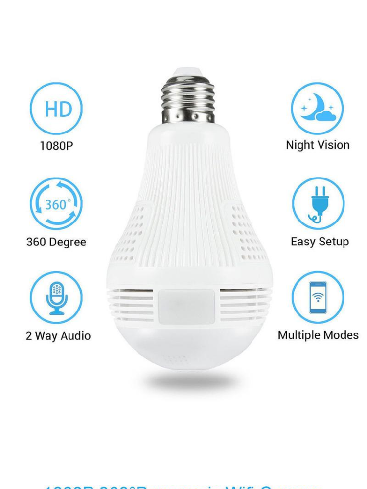 V380s IP CAM Wireless WIFI Network Security Two-Way Audio Home Monitor CCTV  360° Panoramic Light Bulb Camera (WHITE)