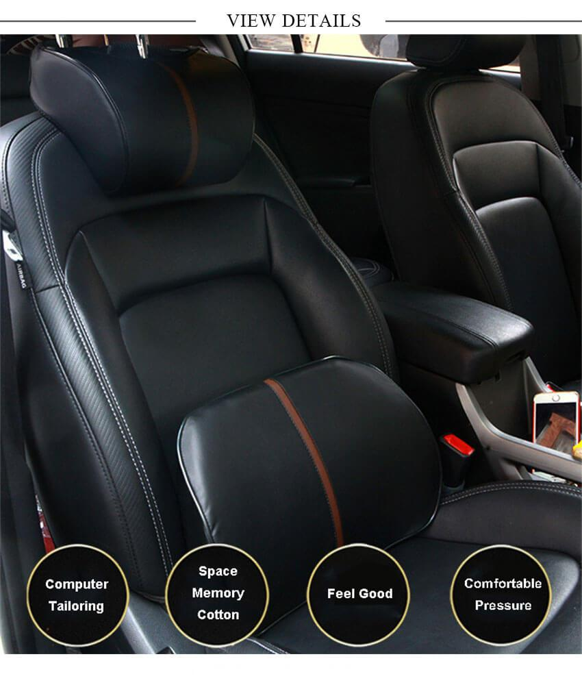 LUOWAN Ergonomic Design Car Seat Neck Support for Neck Pain Relief 100/% Memory Foam Car Seat Headrest Pillow for Filling The Gap Between Driver and Seat