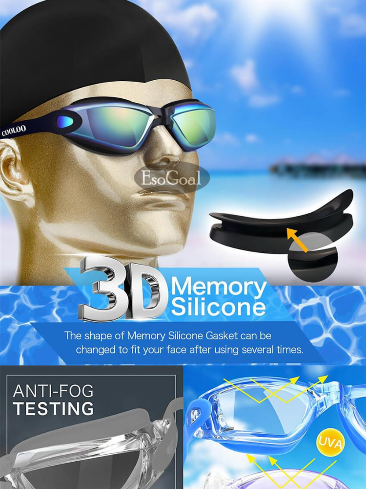 c4aeb77455a Specifications of EsoGoal Swim Goggles, Swimming Goggles for Adult Men  Women Youth Kids Child, Triathlon Equipment, with Mirrored & Clear Anti-Fog,  ...