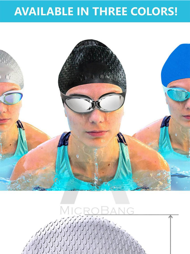 e3836893a6e Specifications of MicroBang Swim Cap Long Hair Swimming Cap Waterproof  Silicone Hat for Adult Woman and Men