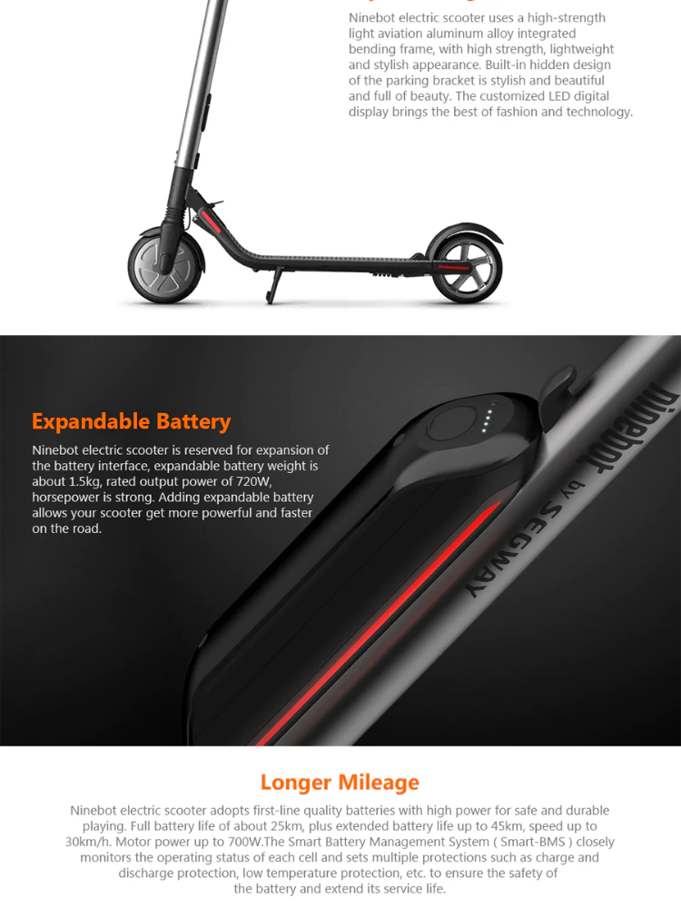 Segway Ninebot ES2 KickScooter Foldable Electric Scooter