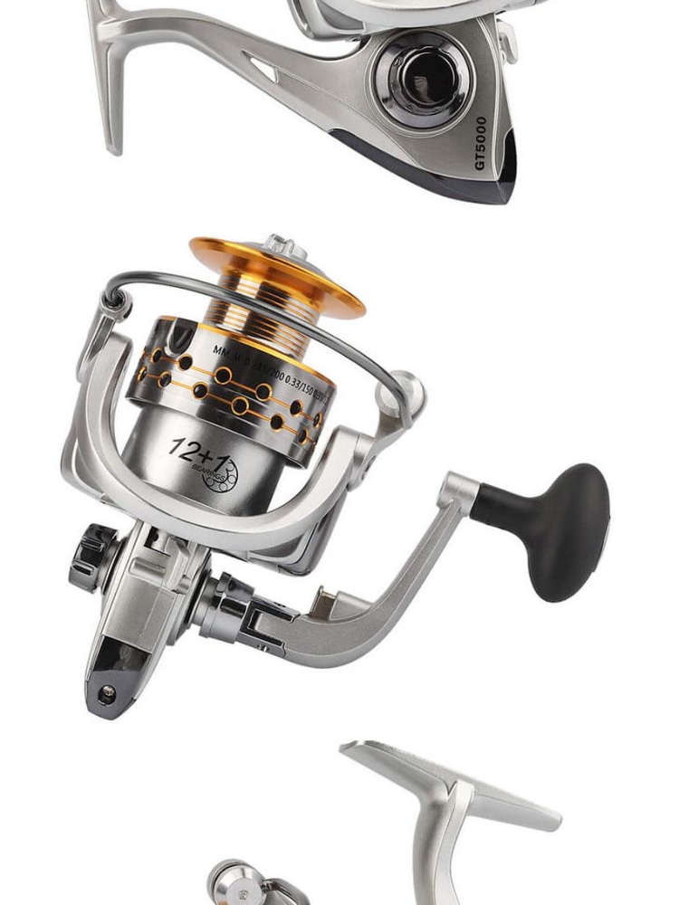 JvGood Spinning Fishing Reel 12+1BB Metal Fishing Tackle 5 2:1 Fish Spool  Ball Bearing GT-5000 GT-7000 for Freshwater Saltwater