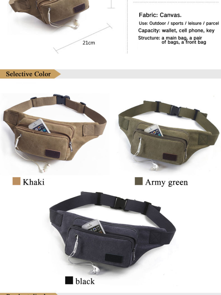 Canvas Men Small Waist Bag Outdoor Sport Travel Bag Money Belt Zip Pouch Wallet