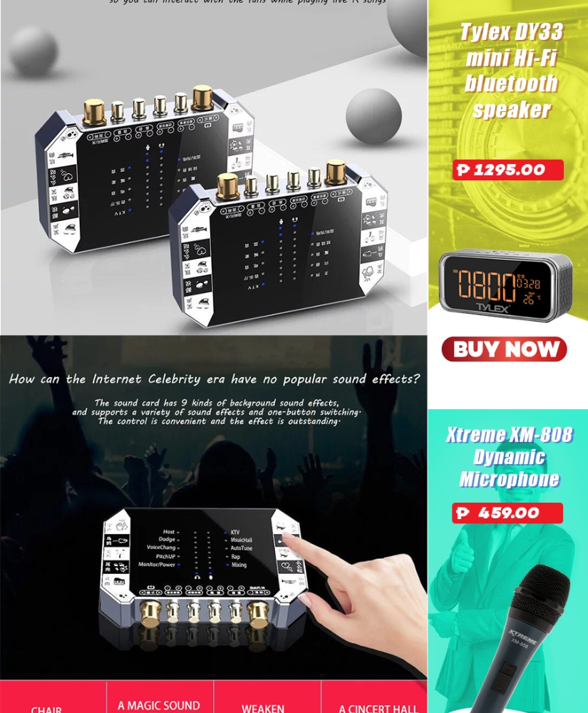LHR Q7 Universal Broadcasting Sound Card for Mobile Phone & Computer with  Multiple Sound Effects Including Condenser Mic Set