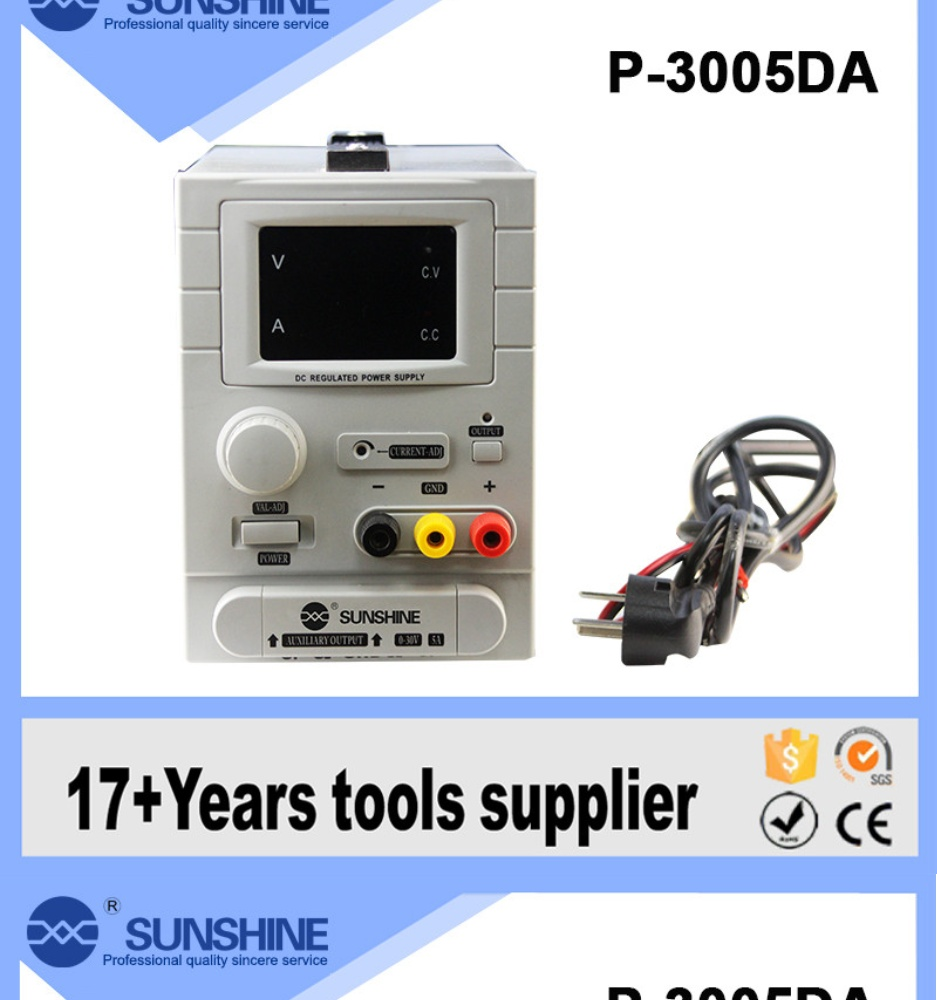 SUNSHINE P-3005DA 30V 5A Most professional manufactures variable voltage dc  power supply