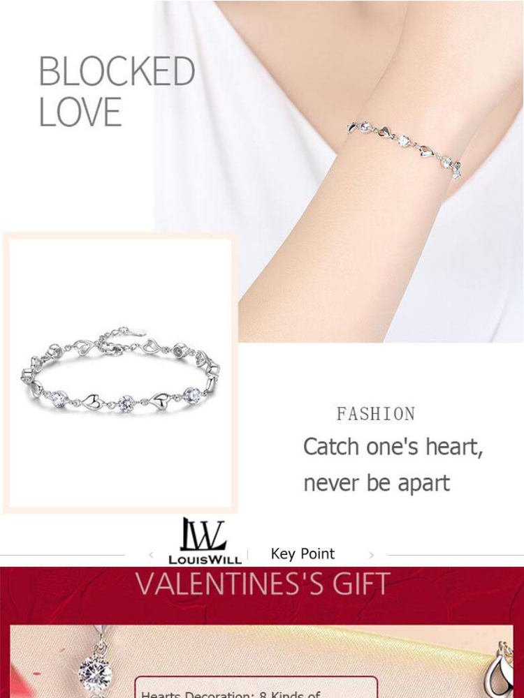 Fashion Colorful Heart Bangle Bracelet Elegant Chain Popular Jewelry Silver Plated