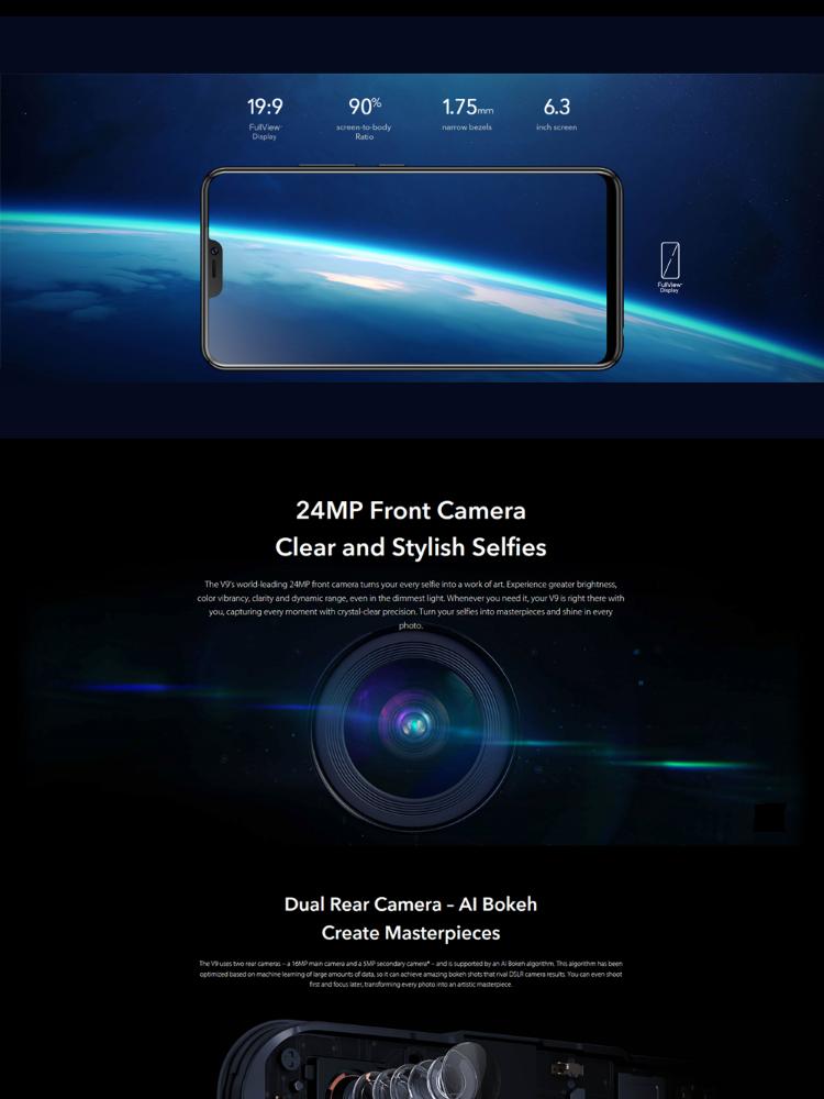 Vivo V9 24MP Front Camera / 16MP + 5MP Dual Rear Camera, 4GB/64GB, Qualcomm  Snapdragon 626 Octa-core, Full View Display Smart Phone