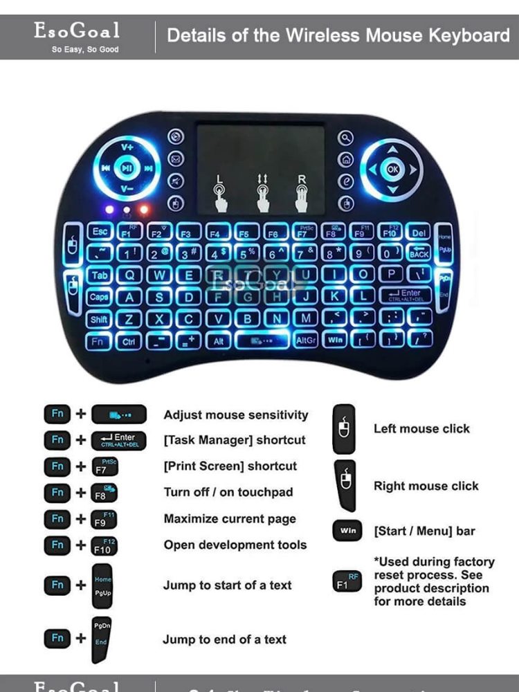 EsoGoal Mini Wireless Touchpad Keyboard Bluetooth Backlit Mouse Gaming Mice  Touch Pad Android TV, PC - intl