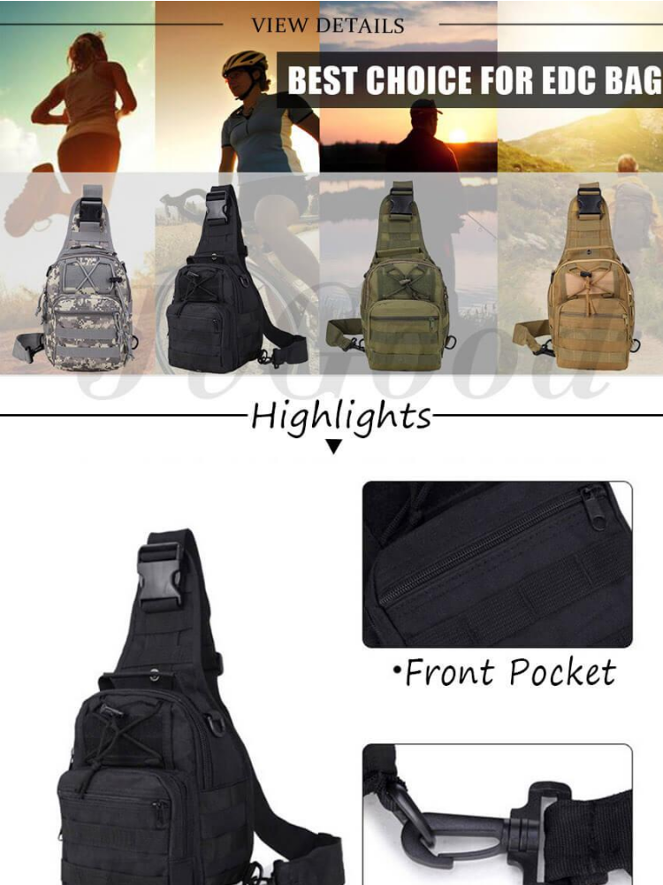 City Jogging Bags Frank Outdoor Sport Military Women And Mens Multi-functional Tactical Messenger Shoulder Bag With Patch For Hunting Hiking Cycling Sports & Entertainment
