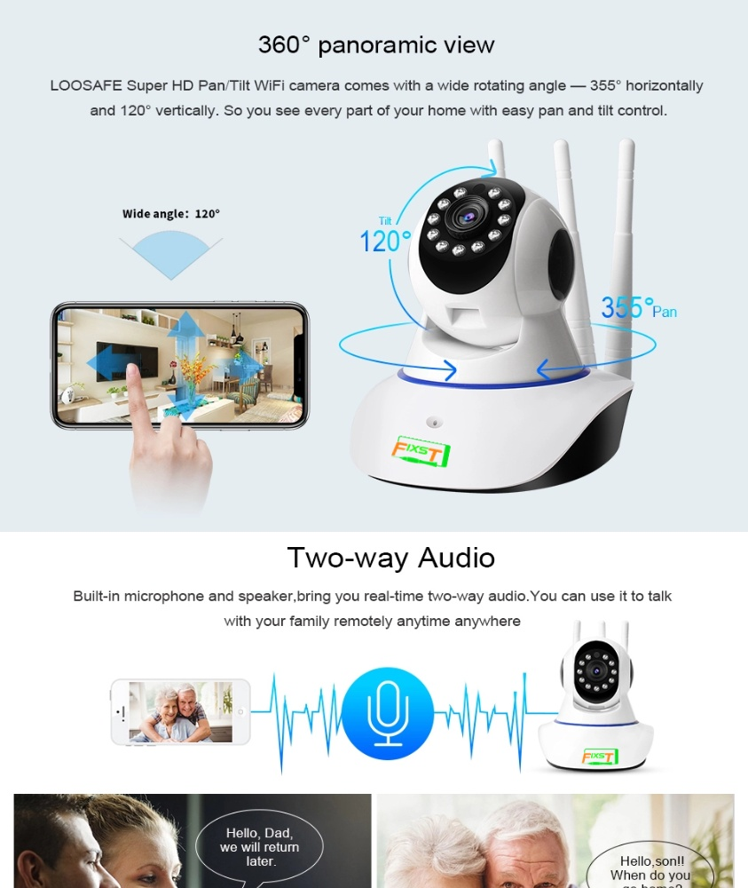 Wireless WiFi Pan Tilt 720P HD Security IP Camera IR Night Vision Two-way Voice