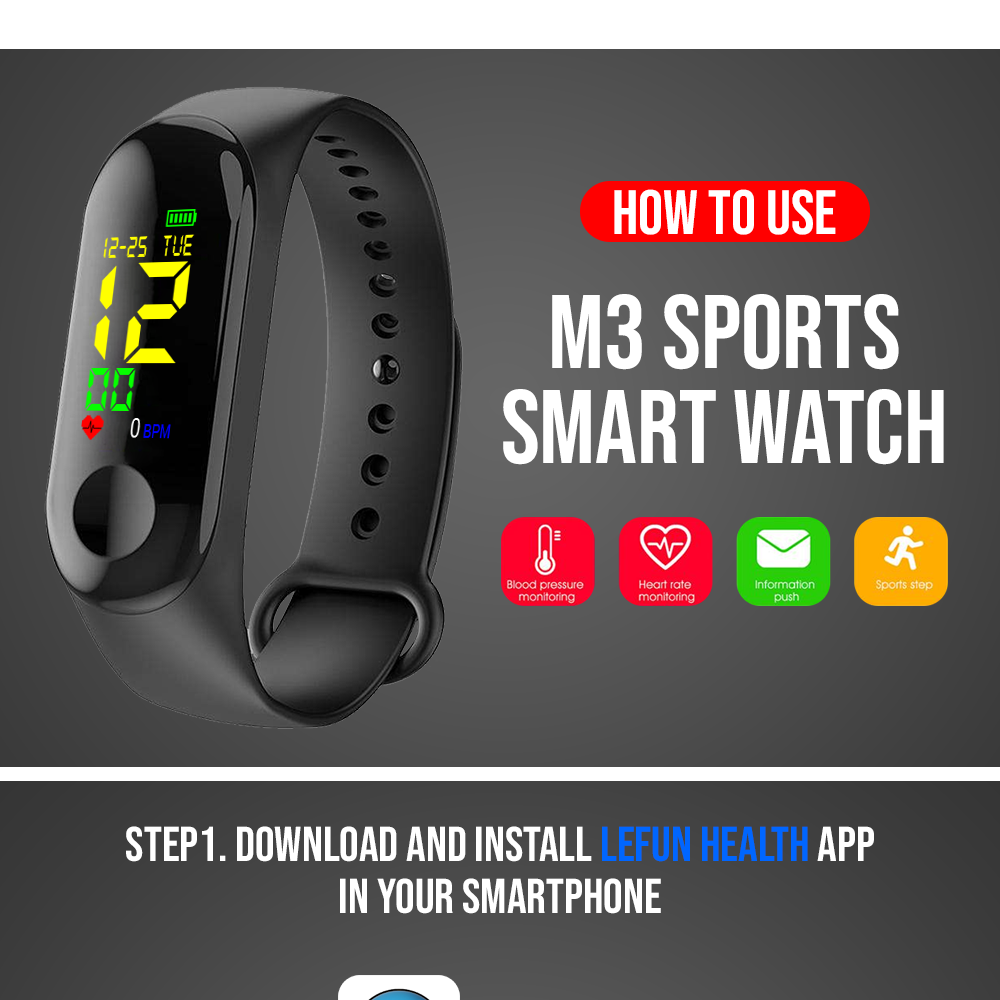 ALLinALL Mart M3 Smart Band Wristband Fitness Bracelet Band Big Touch  Screen Wristwatches Message Heart-Rate Time Smart Watches