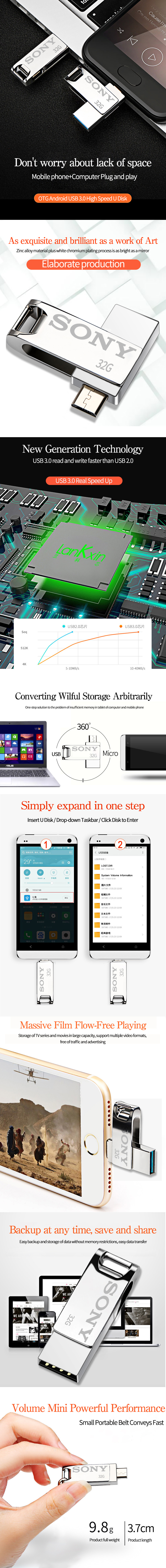 SONY 32GB OTG USB Flash Drive Smartphone External Usb Stick Pen Drive  Memory Stick U Disk for Android PC with free M2 LED Watch and case