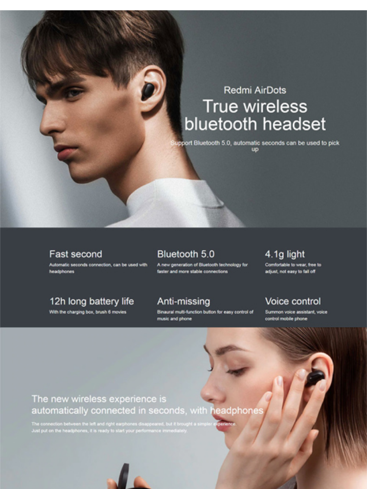 5278c8b6811 Specifications of Xiaomi Redmi AirDots True Wireless Bluetooth 5.0  Earphones DSP Noise Cancellation Headset with Mic Earbuds