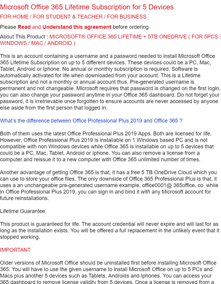 MS Office 365 Pro Plus with 2019 updates from Microsoft (Word, Excel,  PowerPoint, etc) Activate upto 5 devices for Mac/ Windows/ Mobile comes  with