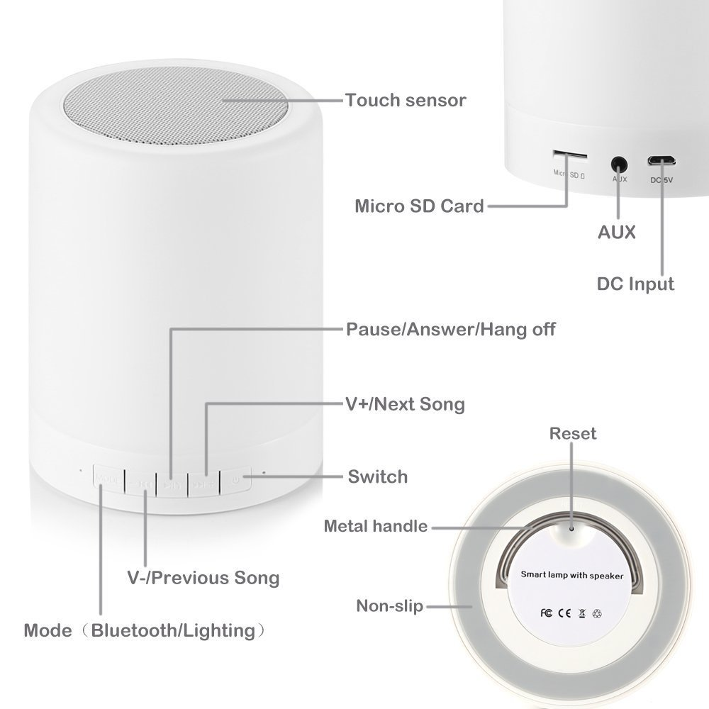 Wireless Bluetooth Speaker with Smart Touch LED Mood Lamp (White)