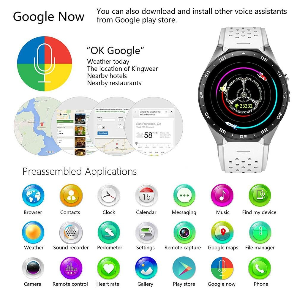 niceEshop KW88 3G WIFI Smartwatch Cell Phone All-in-One Bluetooth Smart  Watch Android 5 1 SIM Card With GPS,Camera,Heart Rate Monitor,Google Map,