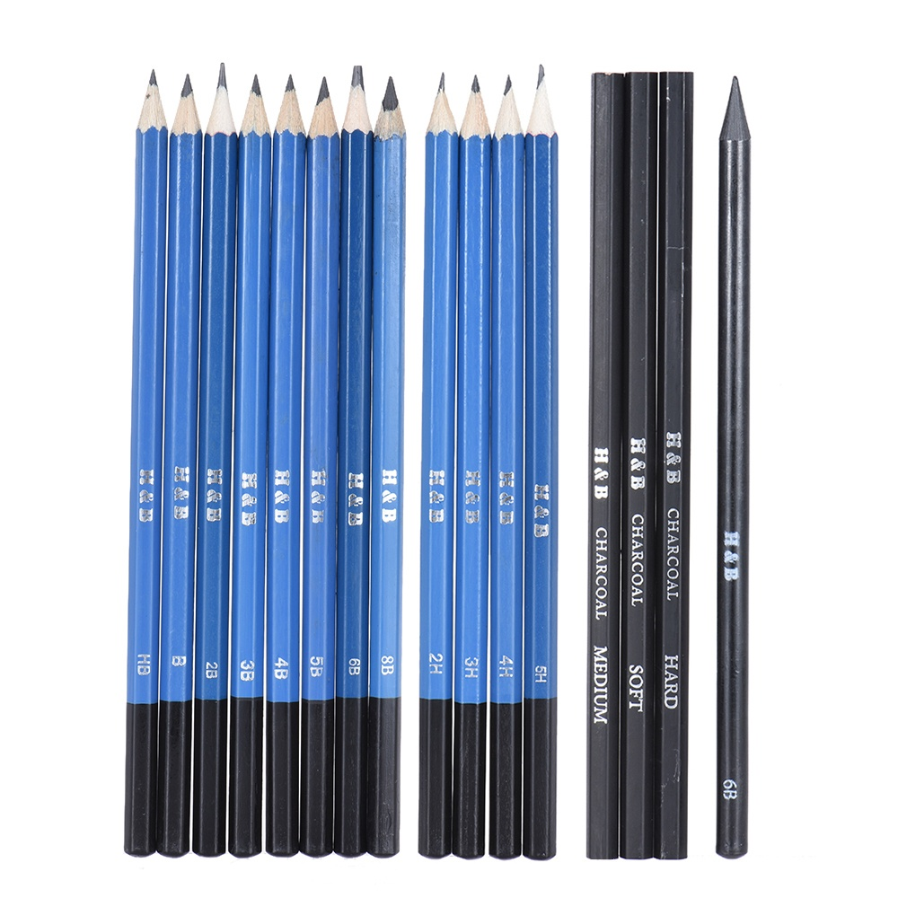 Free shipping fee26pcs professional drawing sketch pencil kit set including sketch pencils graphite charcoal pencils sticks erasers sharpeners for