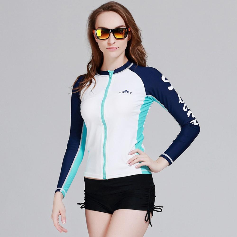 4aae804f7f Spring Autumn Women Rash Guard Top Shirts Swim Long Sleeve Snorkeling  Diving Wetsuit Swimwear – White - Intl
