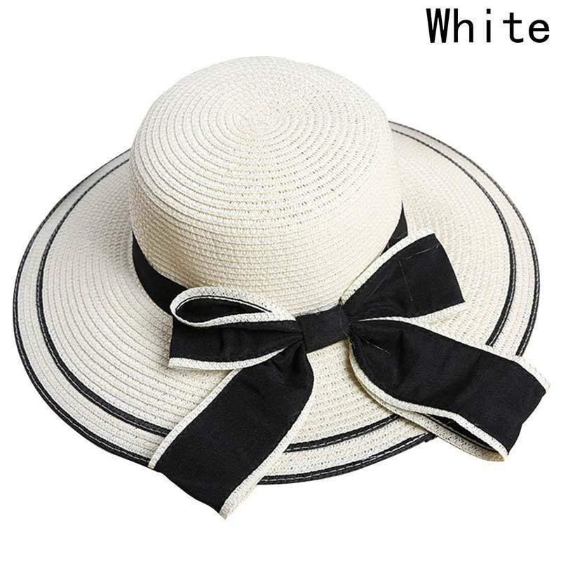 746050a9f Women Fashion Bow Tie Floppy Foldable Straw Beach Sun Summer Hat - intl