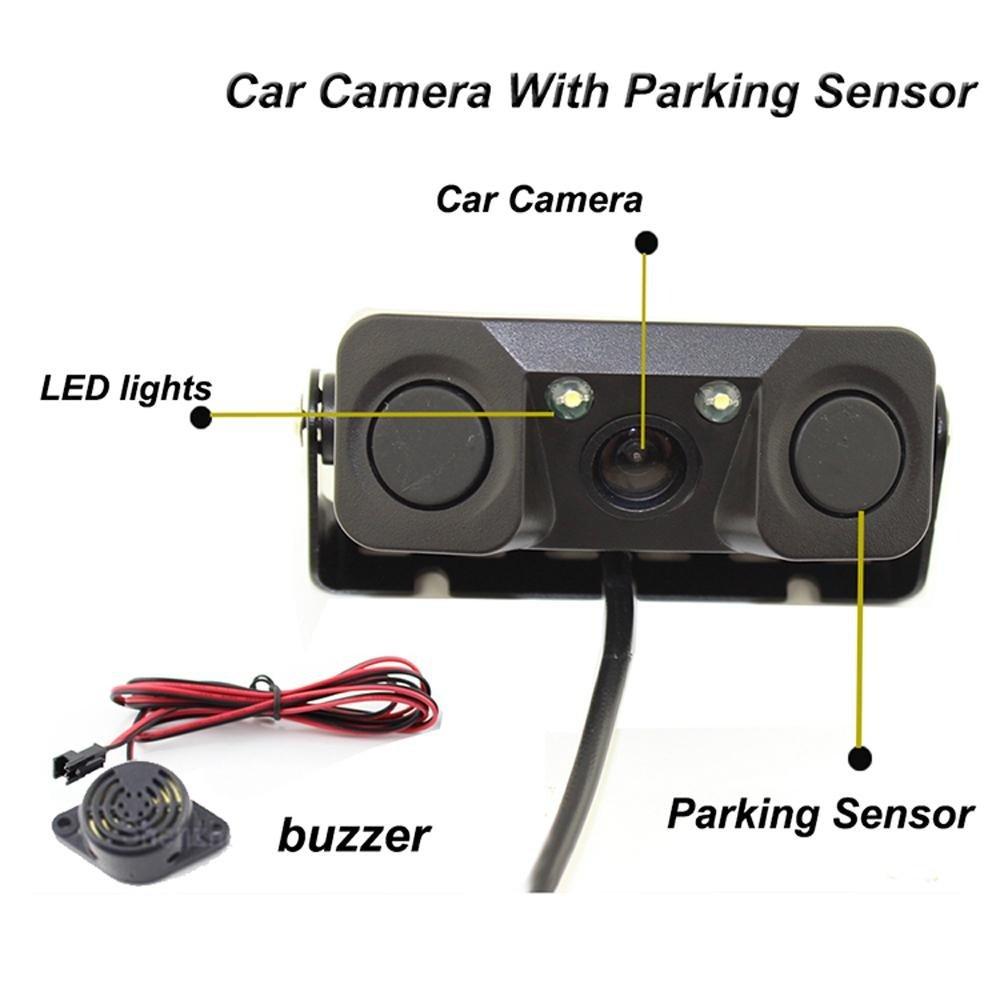 3 In 1 Car Camera Parking Reverse Radar System Backup Hd Camera