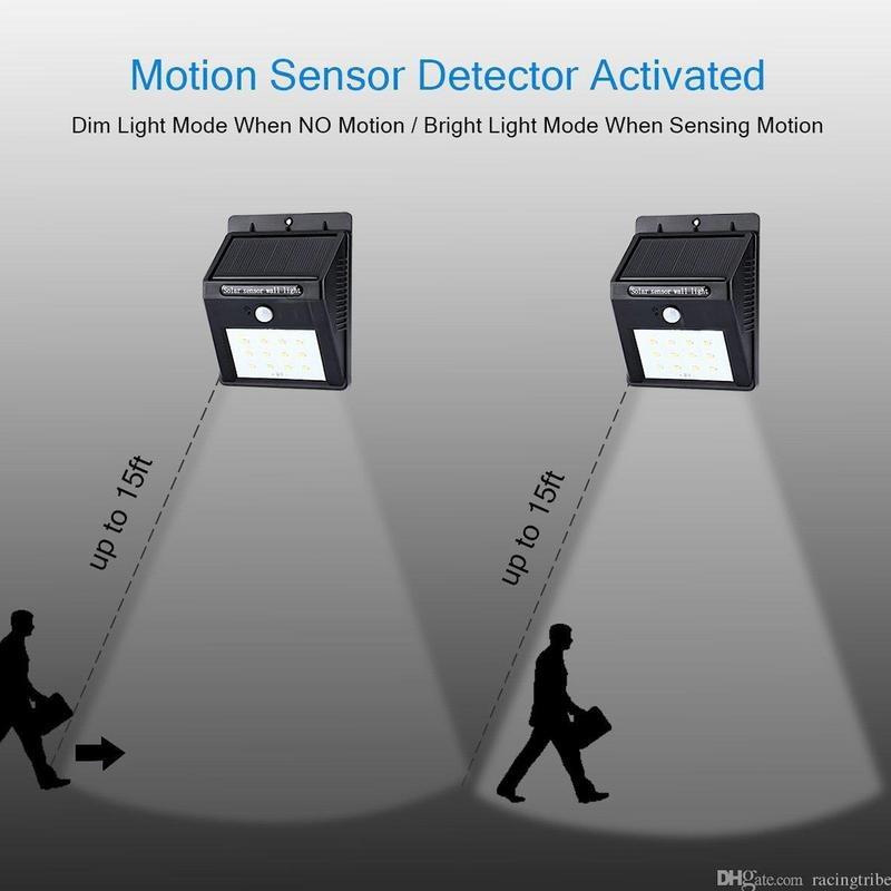 MK 20 LED Outdoor Solar Sensor LED Light Garden Light PIR Motion Sensor  Detection Range With Dusk to Dawn Dark Sensing Auto On/Off Function
