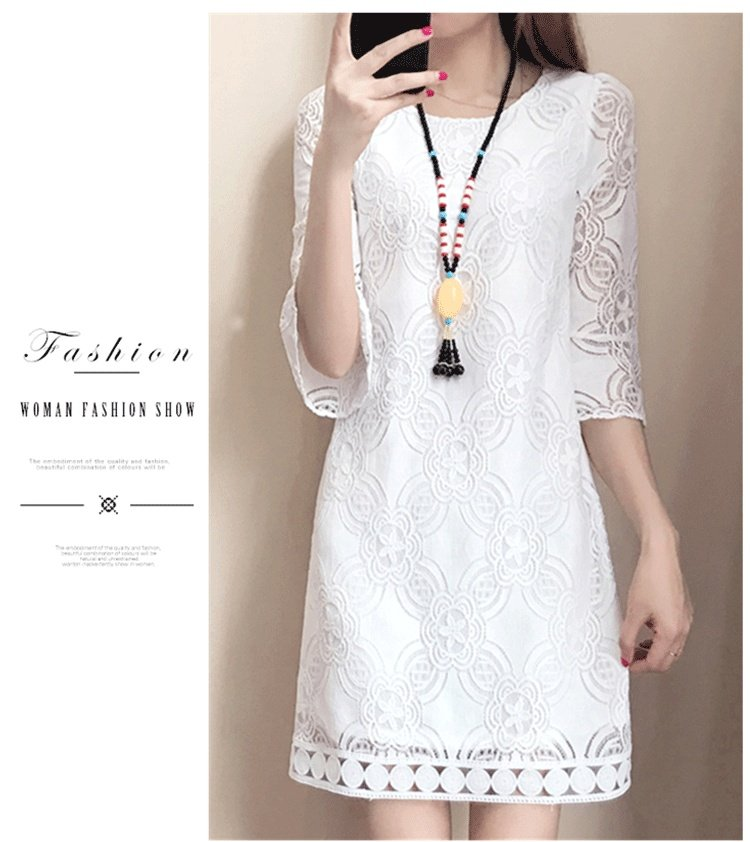 5e9268502add62 ♥Dress for any occasion:This dress features three quarter sleeves,round  neck Lace neckline, midi length, flared skirt,suitable for  dates,shopping,business ...