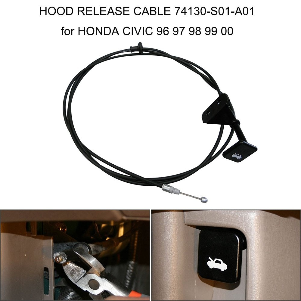 Hood Release Cable With Handle For Honda Civic 1996-2000 74130-S01-A01