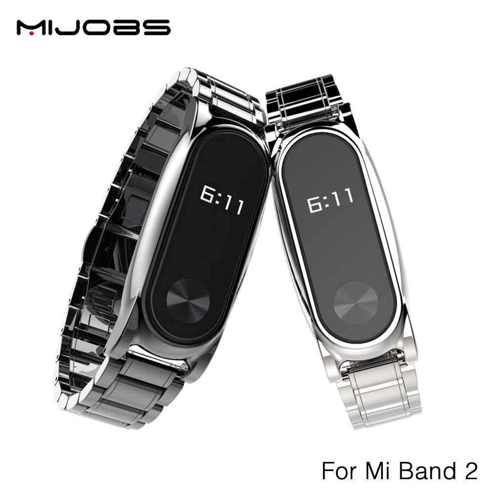 Original Mijobs Metal Strap For Xiaomi Mi Band 2 Stainless Steel free  repair tool