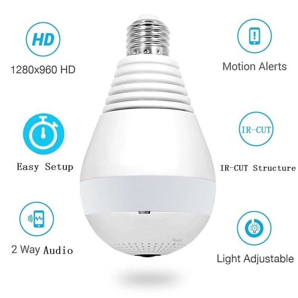 V380 LED Bulb Light WIFI Spy Camera Security Camera | Lazada PH